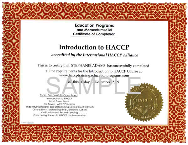 Haccp certification training home education programs sample haccp certificate yelopaper Choice Image