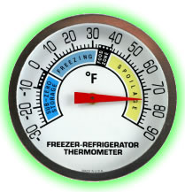 Thermometer showing needle in Food Spoilage Range